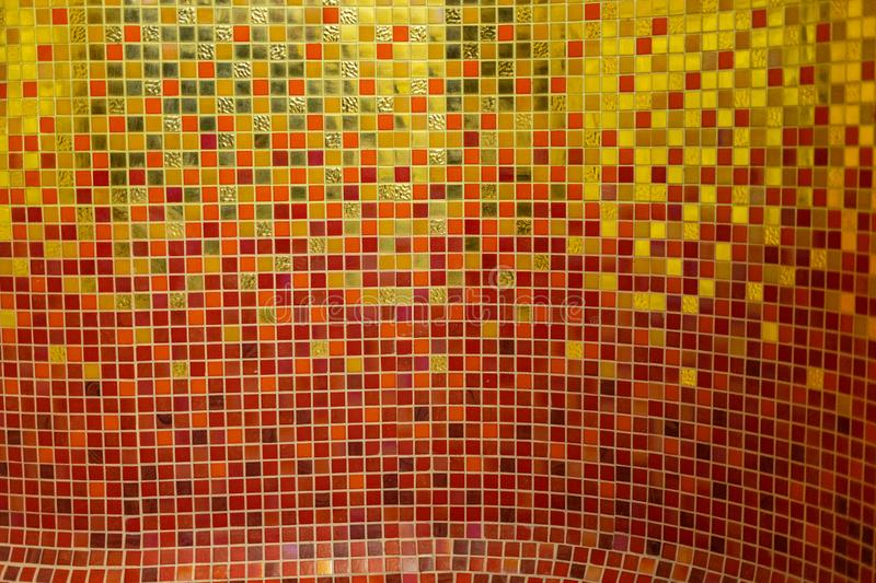 Colorful golden ceramic mosaic. Using in pool background stock photos