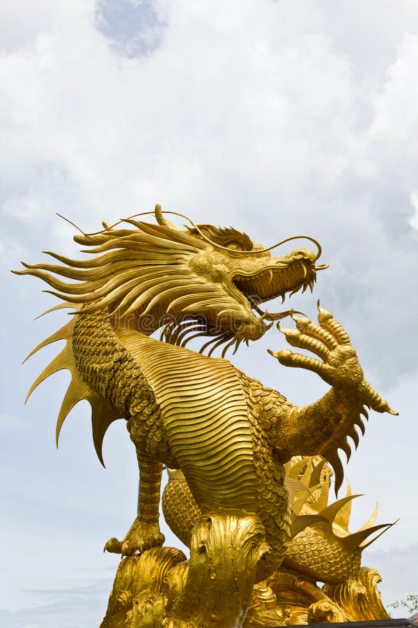 Colorful Golden dragon statue royalty free stock photography