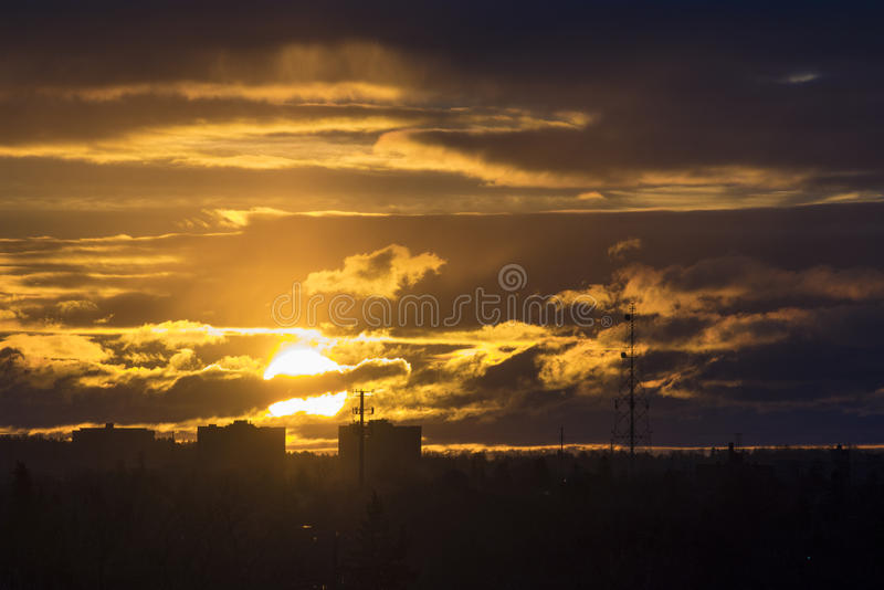 Colorful golden sunrise dawn Toronto, Scarborough, Canada. Beautiful colorful golden sunrise in the Scarborough city skyline during a cold Winter morning royalty free stock photos
