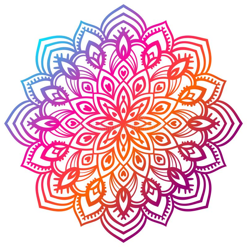 Colorful gradient flower mandala. Hand drawn decorative element. Ornamental round doodle floral element. stock illustration