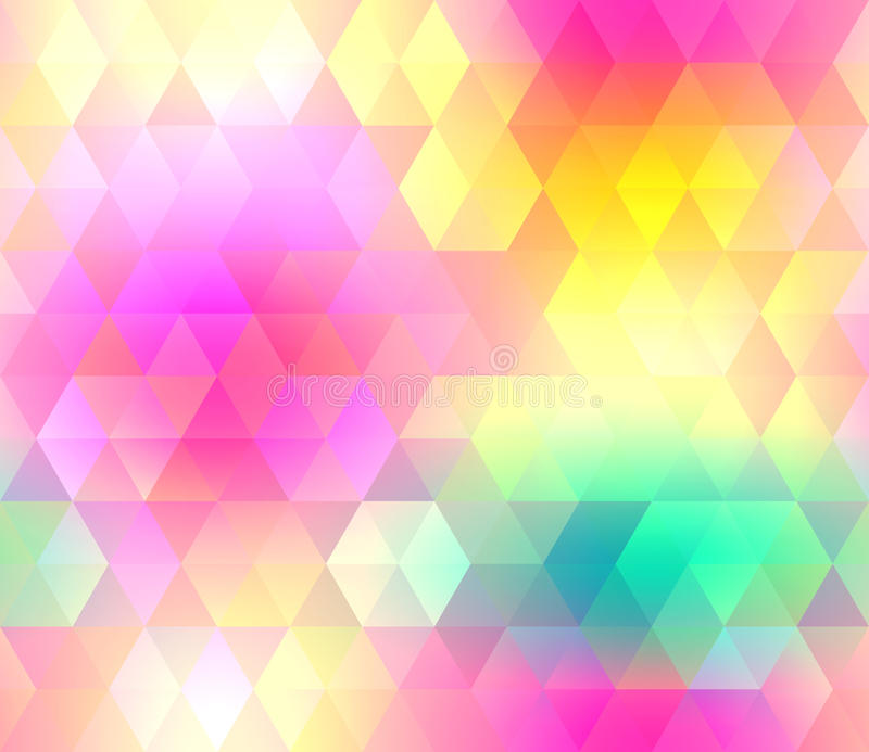 Colorful gradient hexagonal background in bright rainbow colors. Abstract blurred image. stock illustration