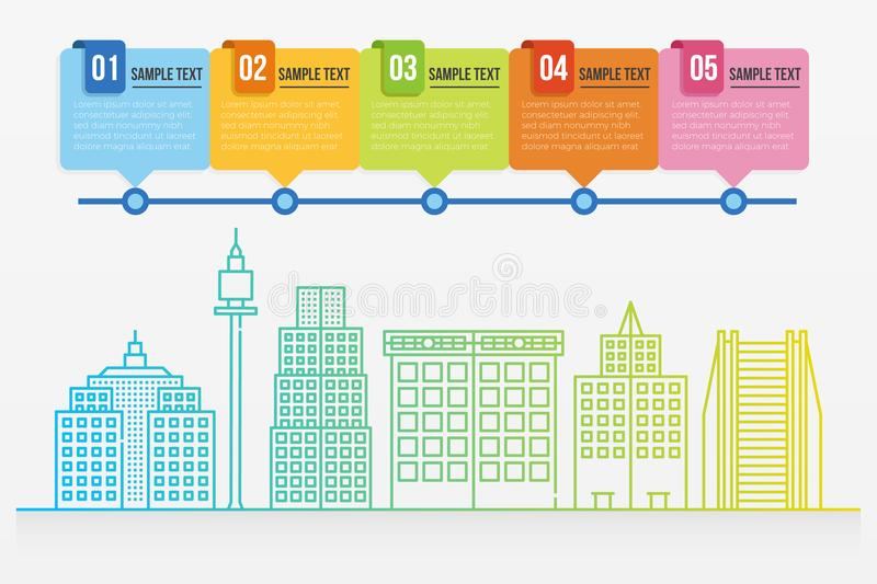Cityscape infographic template. Colorful gradient line cityscape buildings infographic template vector illustration