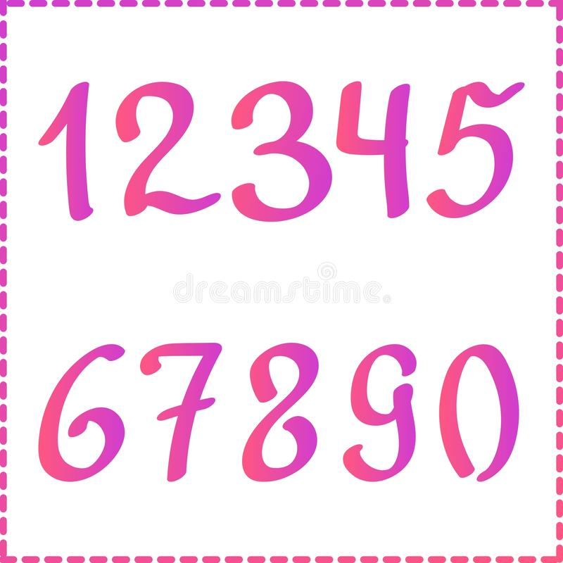 Colorful gradient numbers from 0 to 9. Modern vector illustration. Flat set of numbers and mathematical signs. Actual royalty free illustration