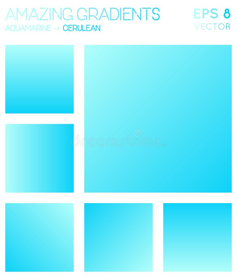 Colorful gradients in aquamarine, cerulean color. Colorful gradients in aquamarine, cerulean color tones. Admirable gradient background, unusual vector stock illustration