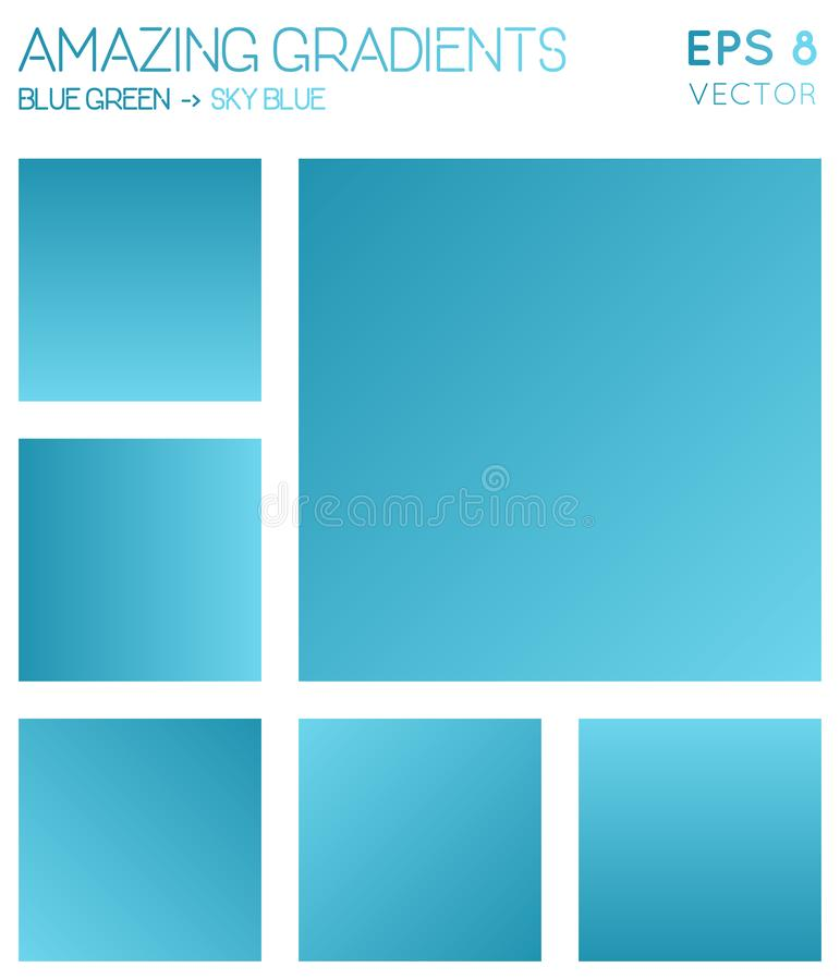 Colorful gradients in blue green, sky blue color. Colorful gradients in blue green, sky blue color tones. Actual gradient background, classy vector illustration stock illustration