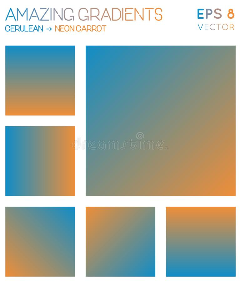 Colorful gradients in cerulean, neon carrot color. stock illustration