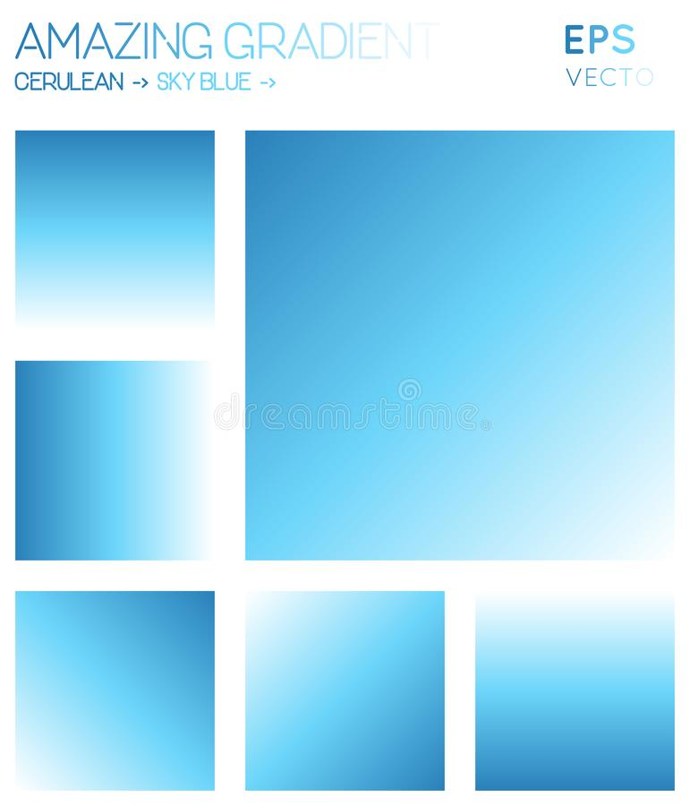Colorful gradients in cerulean, sky blue, white. Colorful gradients in cerulean, sky blue, white color tones. Adorable gradient background, marvelous vector stock illustration