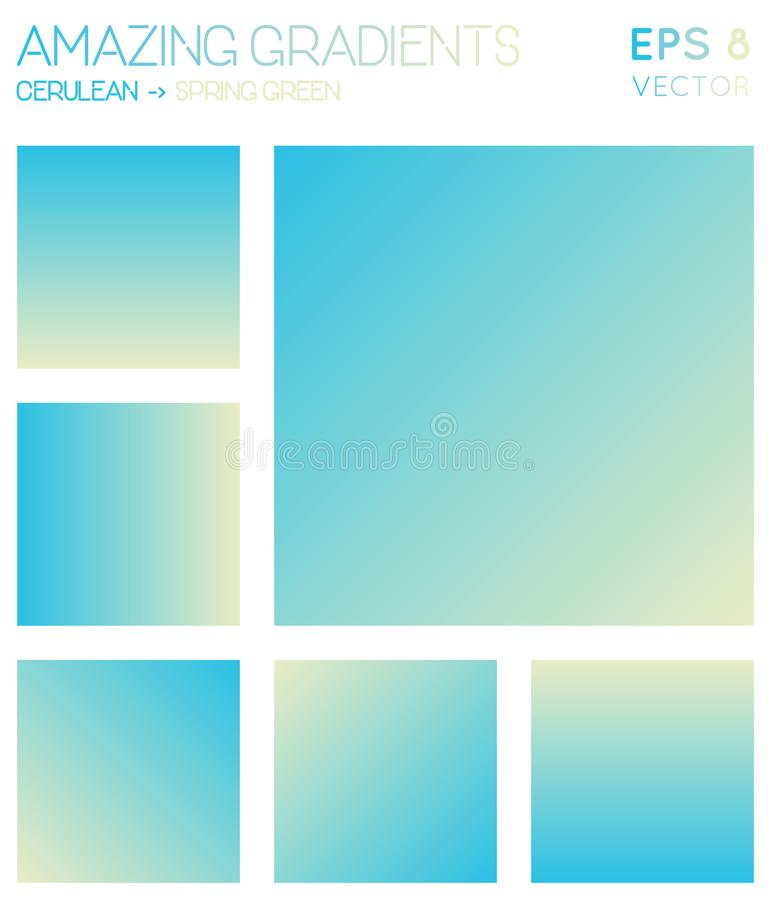 Colorful gradients in cerulean, spring green. Colorful gradients in cerulean, spring green color tones. Actual gradient background, gorgeous vector illustration royalty free illustration