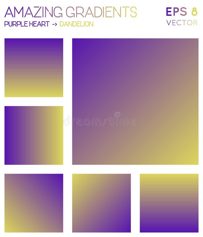 Colorful gradients in purple heart, dandelion. stock illustration