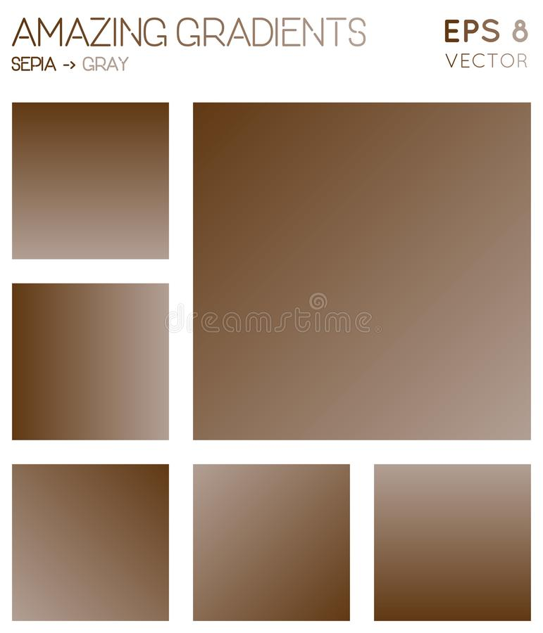 Colorful gradients in sepia, gray color tones. royalty free illustration