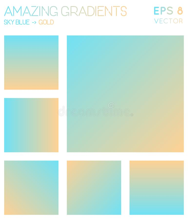 Colorful gradients in sky blue, gold color tones. Actual gradient background, tempting vector illustration royalty free illustration