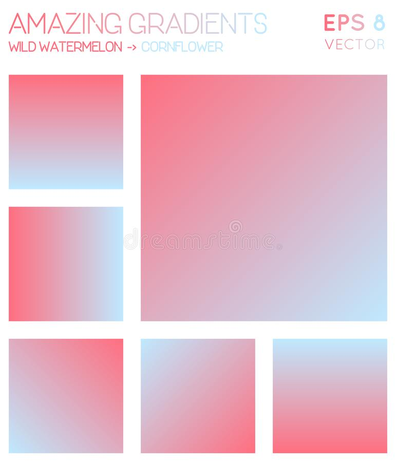 Colorful gradients in wild watermelon, cornflower. royalty free illustration