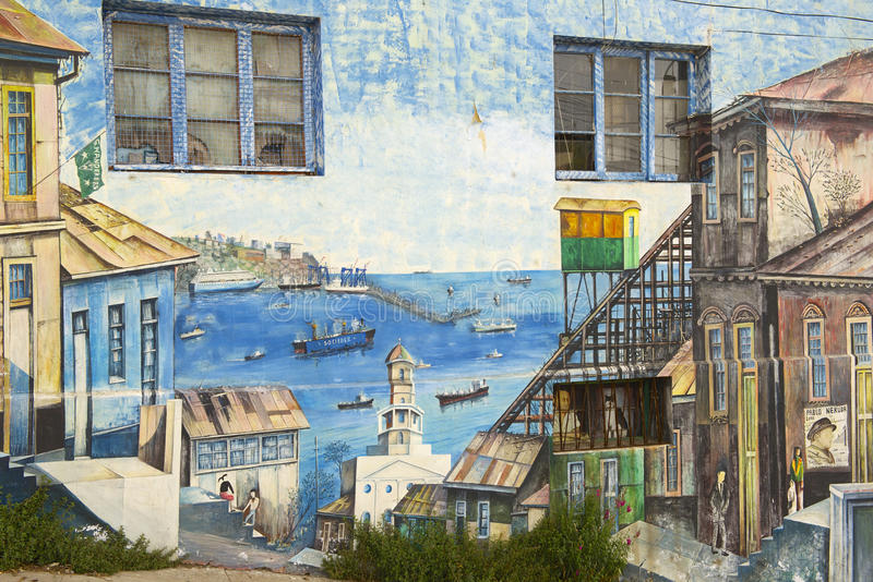 Colorful graffiti art in Valparaiso, Chile. stock photo