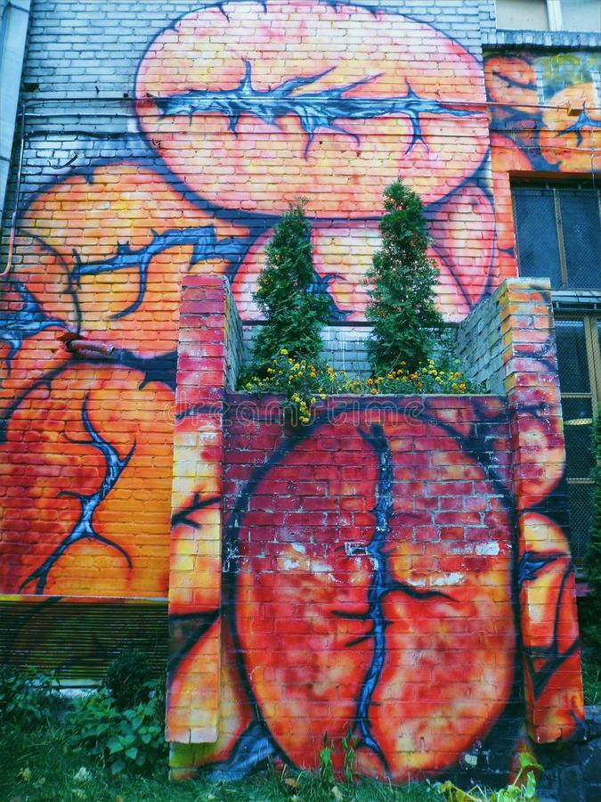 Colorful graffiti on the building.  stock image