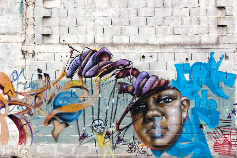 Colorful graffiti, Rosario, Argentina. Colorful and artistic graffiti used to decorate unattractive walls of buildings in the city of Rosario, Argentina, 2 April royalty free stock images