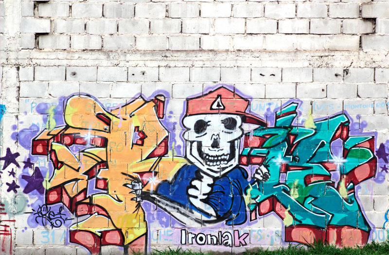Colorful graffiti, Rosario, Argentina. Colorful and artistic graffiti used to decorate unattractive walls of buildings in the city of Rosario, Argentina, 2 April royalty free stock image