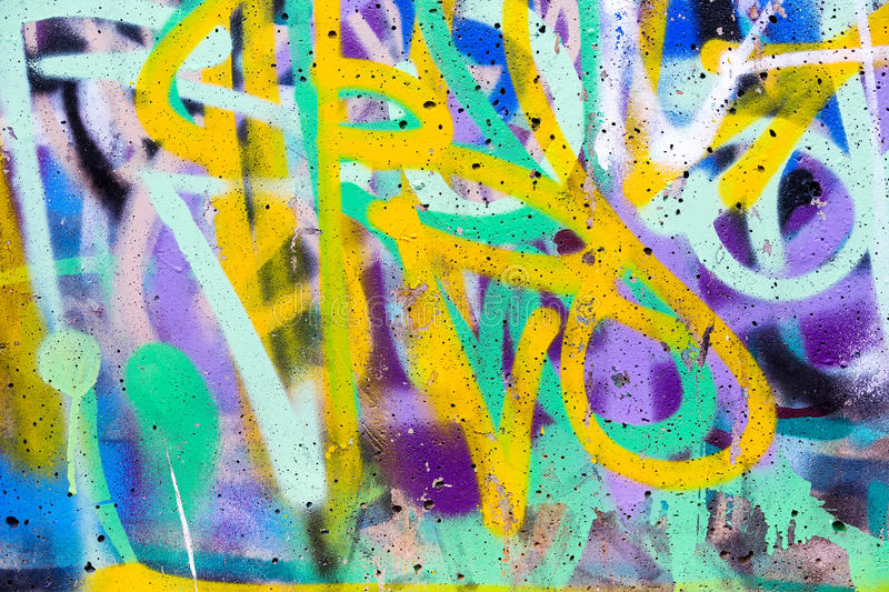 Colorful Graffiti Wall With Spray Paint Stock Image - Image of ...