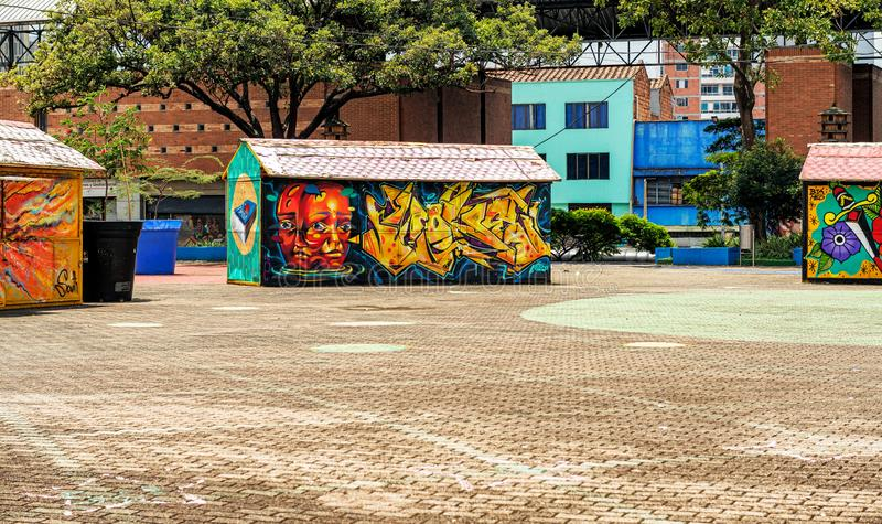 Colorful graffities on merchants' stalls in San Antonio Park i. Medellin, Colombia - March 26, 2018: Colorful graffities on merchants' stalls in stock images