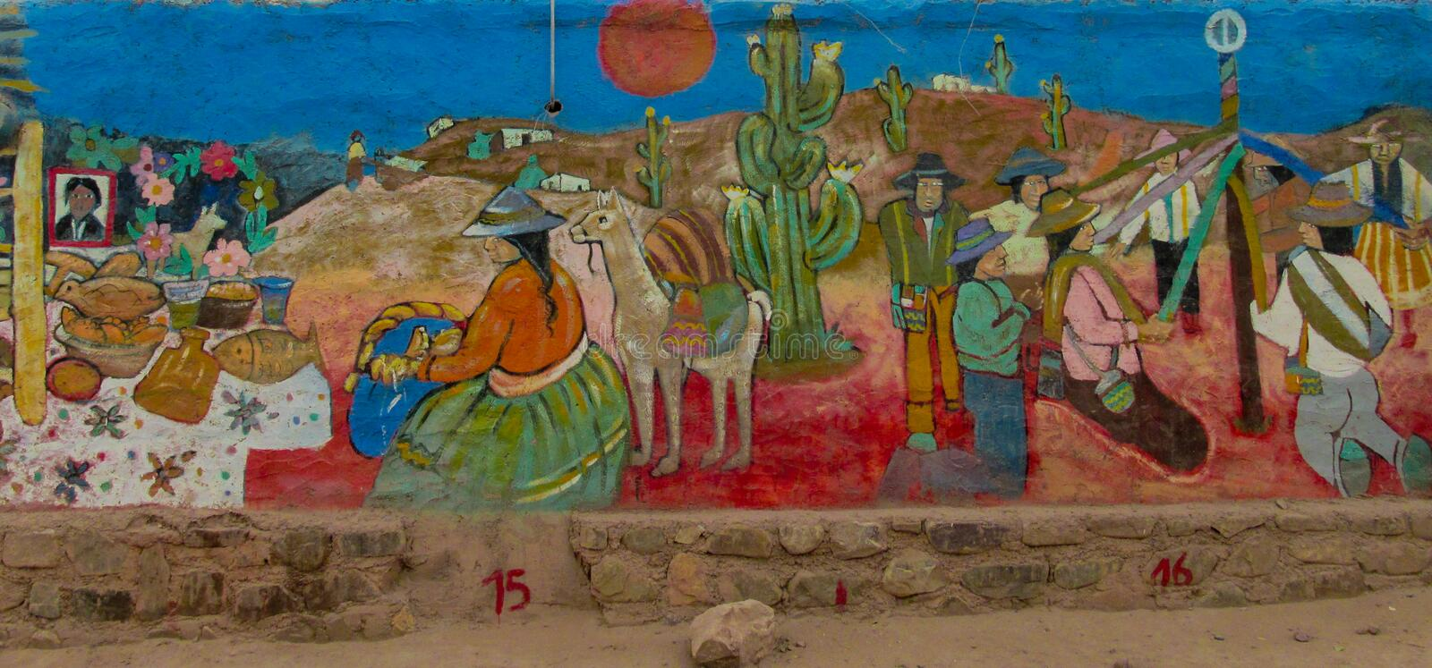 Colorful graffity of native americans. On the wall stock photo