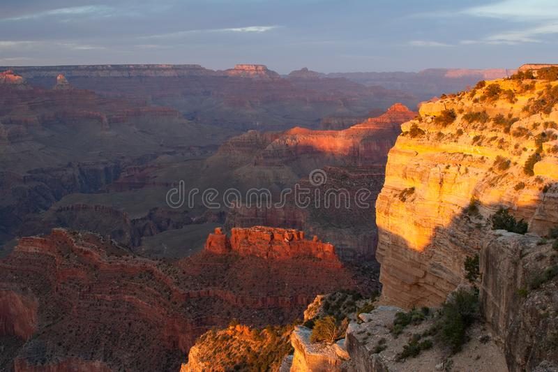 Colorful Grand Canyon Ridges at sunset on Hopi Point. Colorful canyon ridges in last light of day from Hopi Point in Grand Canyon National Park, Arizona royalty free stock photo