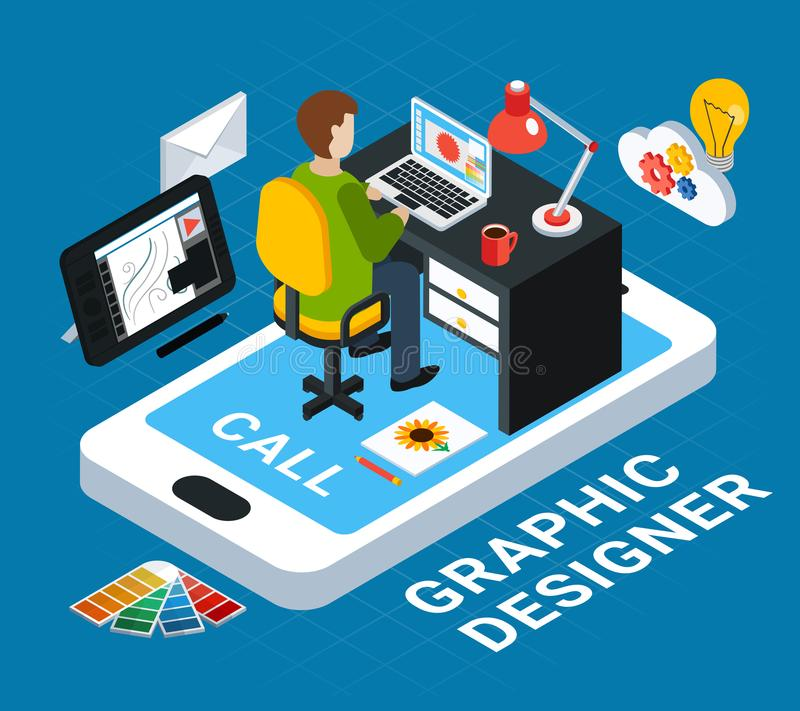 Graphic Design Concept. Colorful graphic design concept with designer at his workplace on blue background 3d vector illustration royalty free illustration