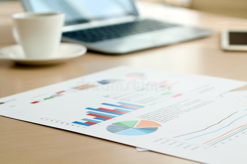 Colorful Graphs, Charts, Marketing Research And Business Annual Report Background royalty free stock photography