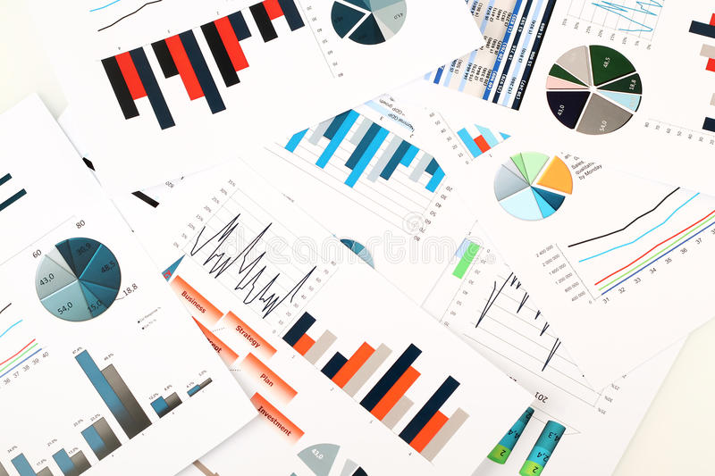 Colorful graphs, charts, marketing research and business annual report background, management project, budget planning, financial stock image