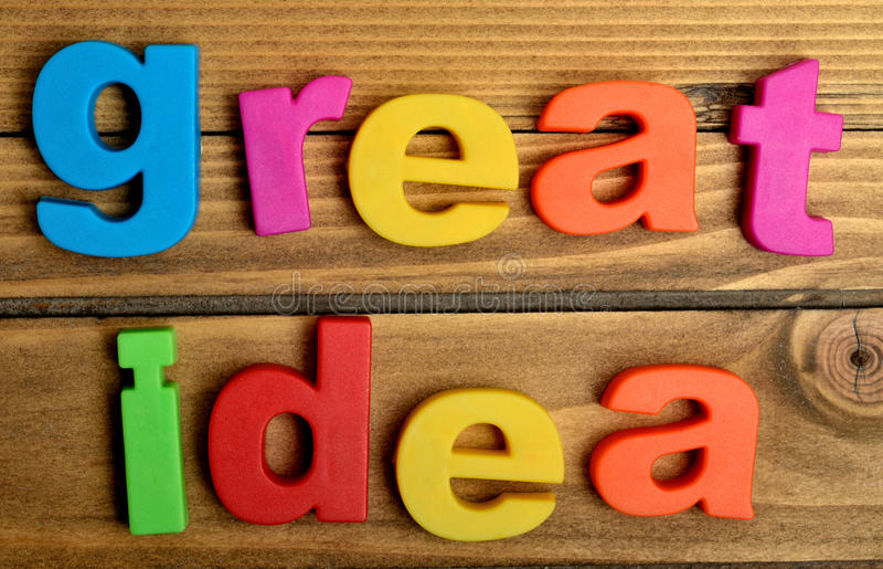 Colorful great idea word stock photo