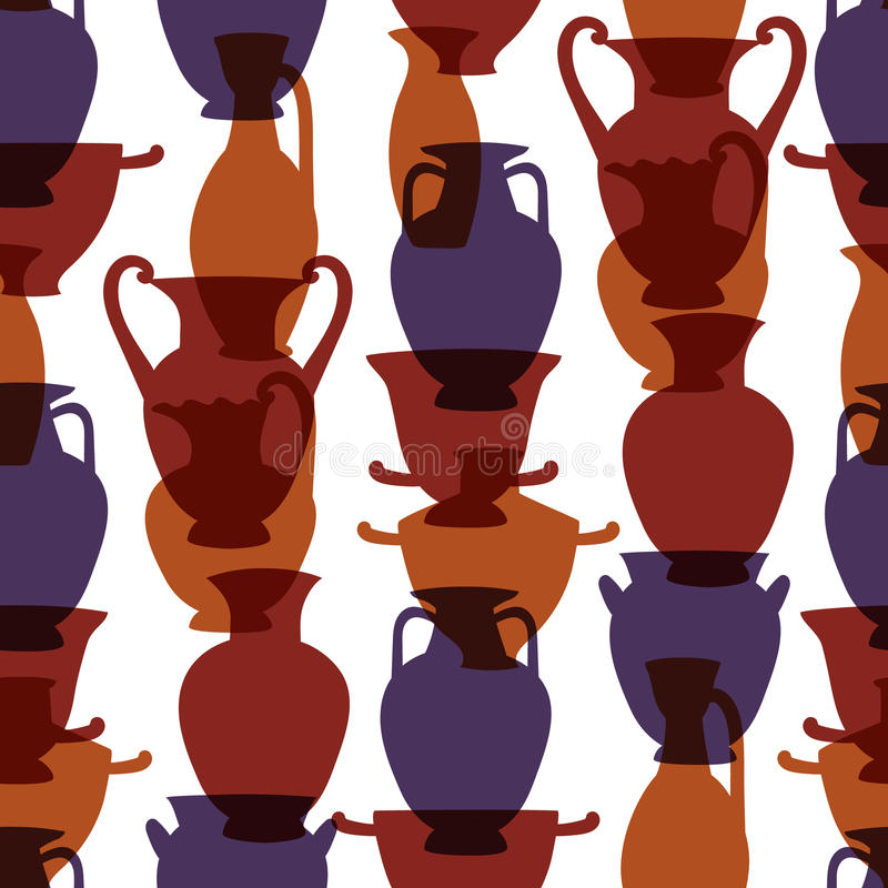Colorful greek traditional vases seamless pattern, vector stock illustration