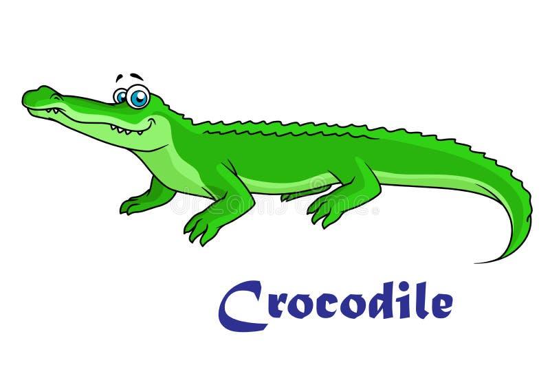 Colorful green cartoon crocodile royalty free illustration