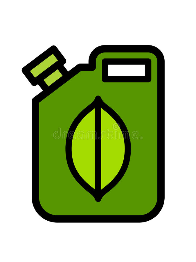 Colorful green fuel canister with a biofuel icon stock illustration