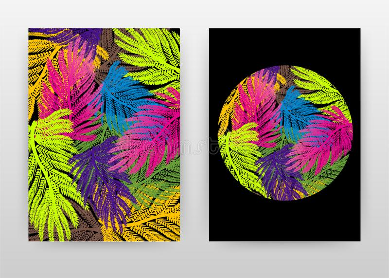 Colorful green, purple, blue, brown, yellow palm tree leaves design for annual report, brochure, flyer, poster. Colorful. Background vector illustration for royalty free illustration