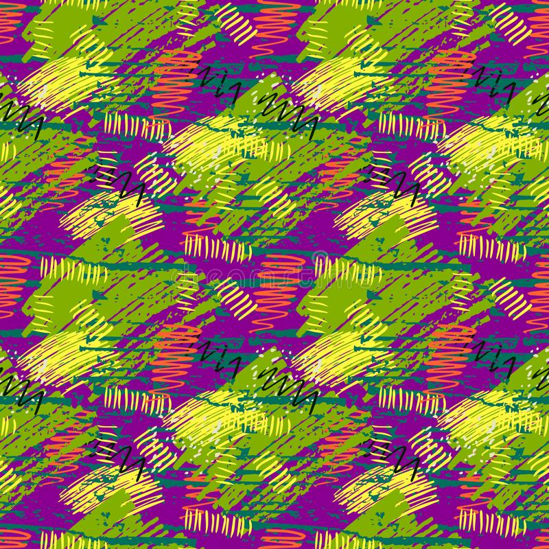 Colorful green, purple, yellow grunge seamless pattern with abstract hand drawn brush strokes and paint splashes. royalty free illustration