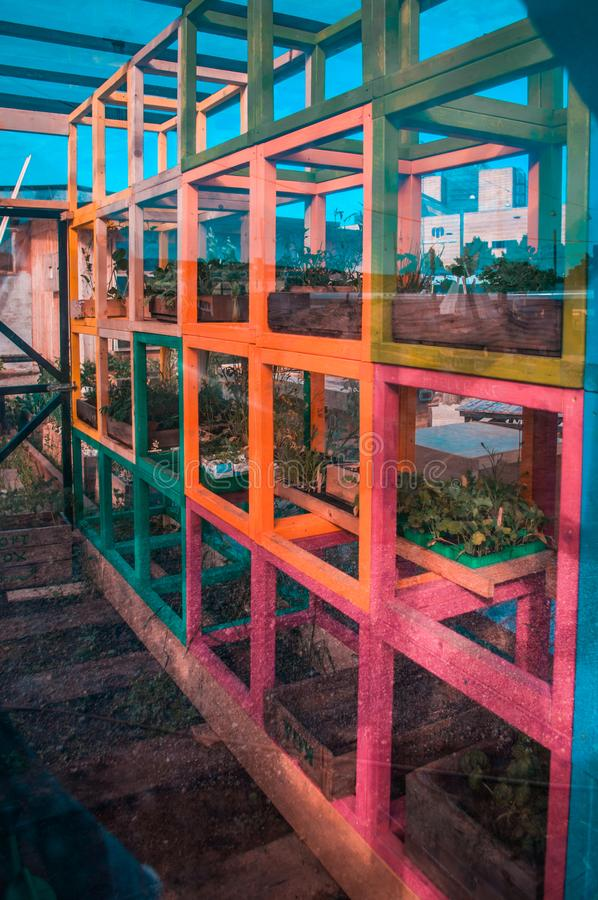 Colorful greenhouse in Latin America stock photos