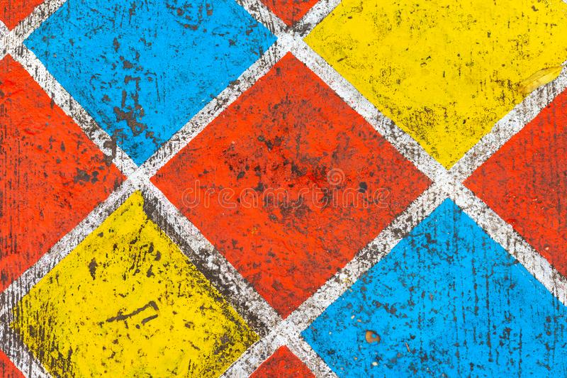 colorful grid pattern wall background and texture stock photos