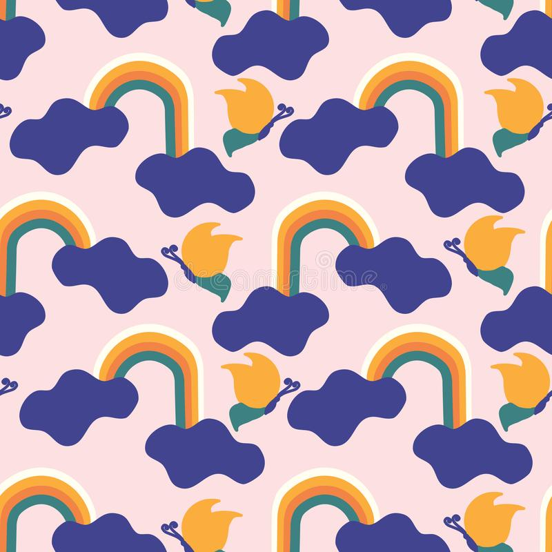 Free Colorful Groovy Clouds,rainbow And Birds , In A Seamless Pattern Design Stock Images - 149679284