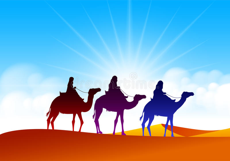 Colorful Group of Arab People with Camels Caravan vector illustration