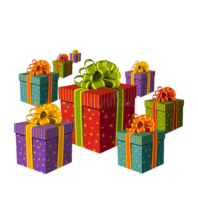 Colorful group of gift boxes stock image