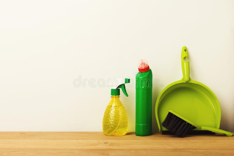 Colorful group of green cleaning supplies. For natural and environmentally friendly cleaning. House keeping, tidying up, spring-cleaning concept, copy space royalty free stock photography