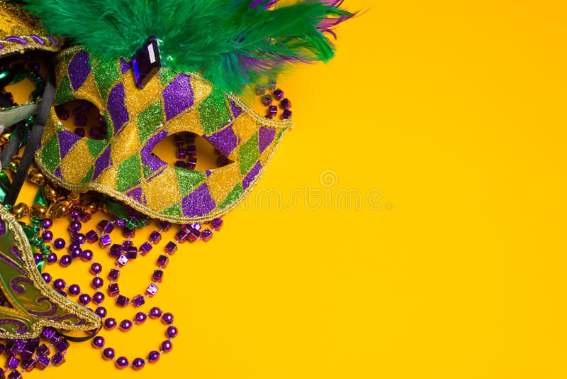 Colorful group of Mardi Gras or venetian mask or costumes on a y stock photos