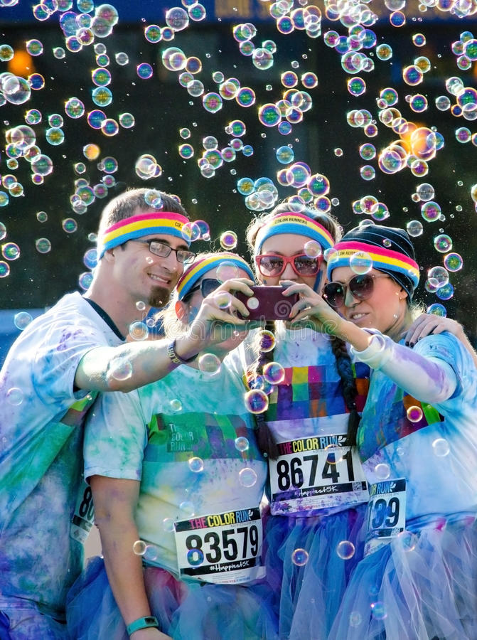 Colorful group selfie stock photo