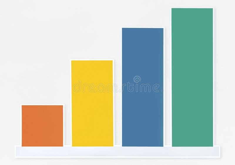 Colorful growth graph icon isolated stock image