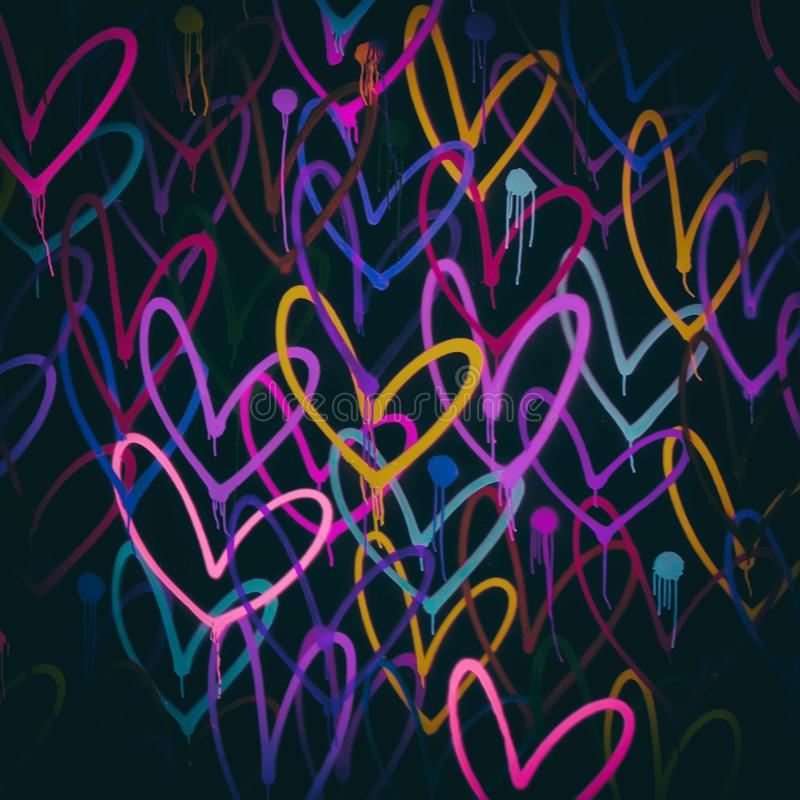 Colorful grunge background. Colorful grunge background with painted hearts royalty free stock image