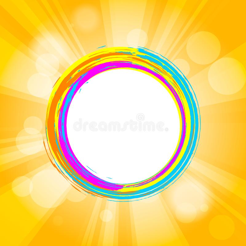 colorful grunge circle brush strokes frame with sunburst and halftone graphic parts behind on orange background stock illustration