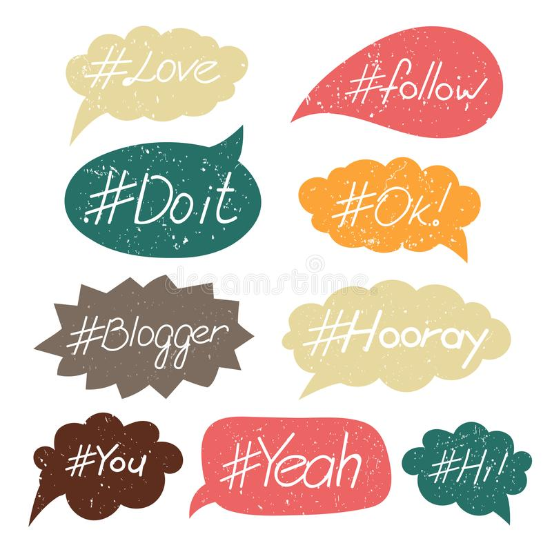 Hand written hash tags royalty free illustration