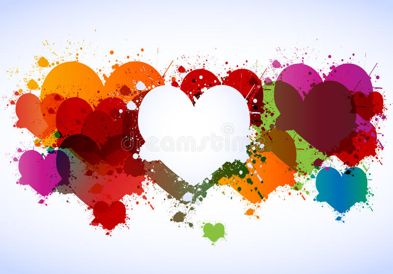 Colorful grunge hearts stock illustration