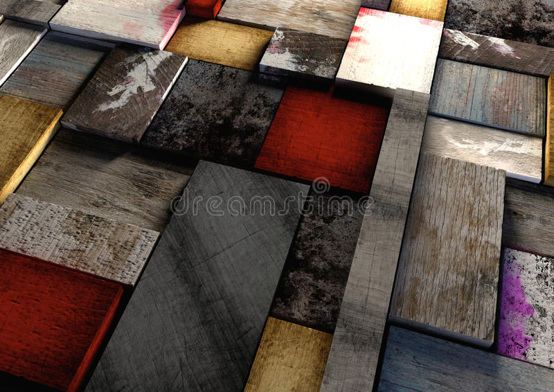 Colorful grunge textured wooden printing blocks packed tightly t stock images