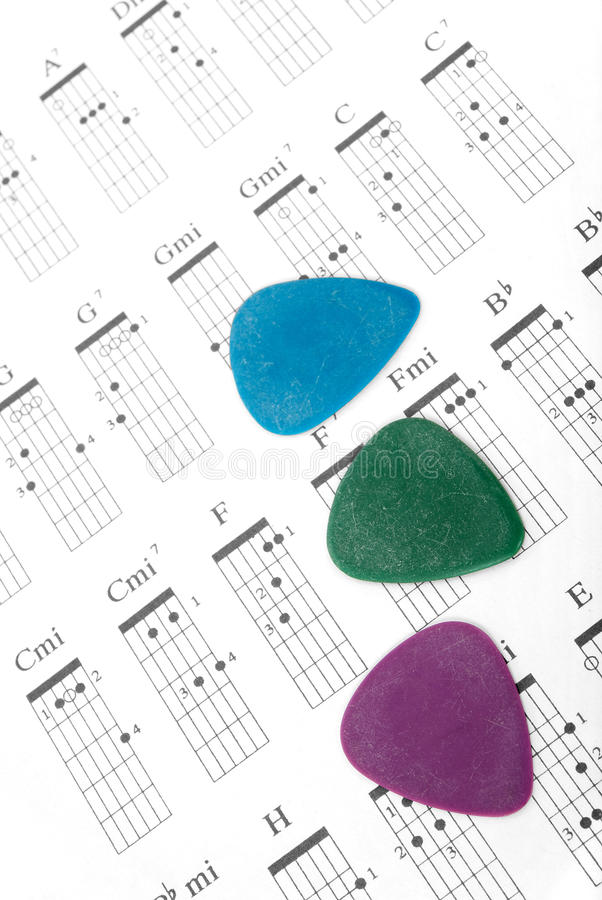 Free Colorful Guitar Picks On A Chords Chart Stock Photography - 11377502