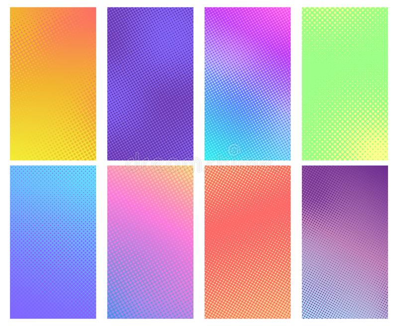 Colorful halftone background. Comic book texture, cartoon comics art and dotted halftone vector backgrounds set stock illustration