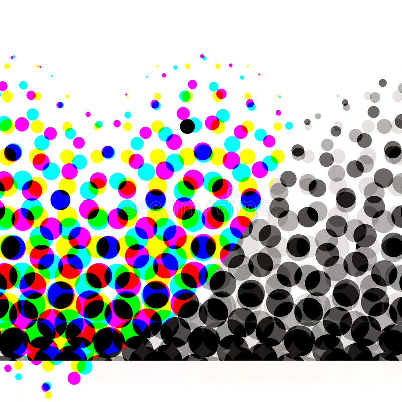 Colorful Halftone Circles. Unique abstract halftone design with lots of dots and circles in colorful to gradient blacks pattern and white banner and copyspace royalty free illustration